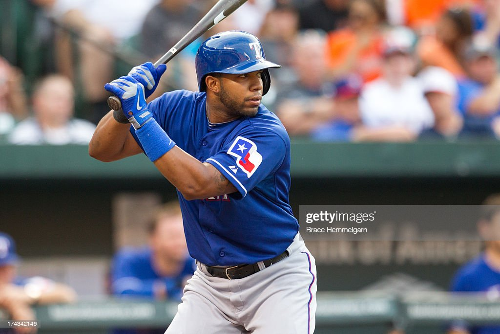 <a gi-track='captionPersonalityLinkClicked' href=/galleries/search?phrase=Elvis+Andrus&family=editorial&specificpeople=4845974 ng-click='$event.stopPropagation()'>Elvis Andrus</a> #1 of the Texas Rangers bats against the Baltimore Orioles on July 8, 2013 at Oriole Park at Camden Yards in Baltimore, Maryland. The Rangers defeated the Orioles 8-5.