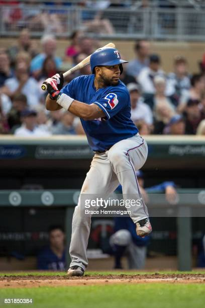 Elvis Andrus of the Texas Rangers bats against the Minnesota Twins on August 5 2017 at Target Field in Minneapolis Minnesota The Rangers defeated the...