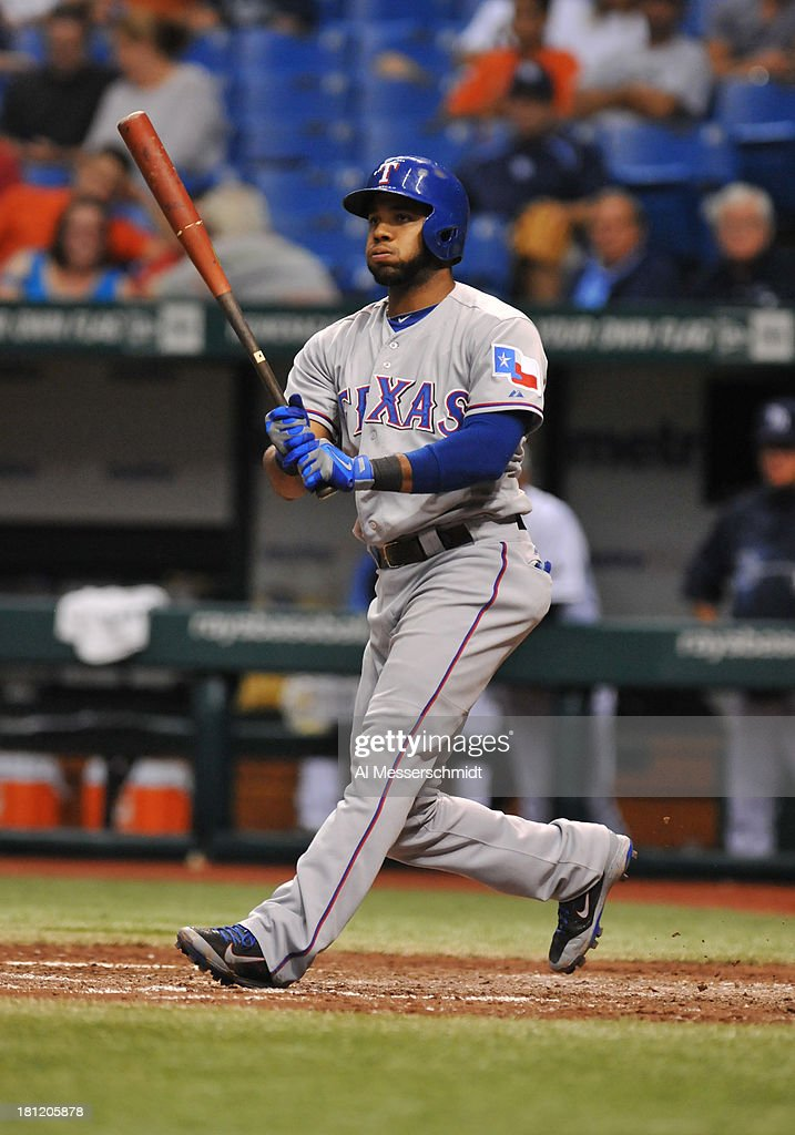 <a gi-track='captionPersonalityLinkClicked' href=/galleries/search?phrase=Elvis+Andrus&family=editorial&specificpeople=4845974 ng-click='$event.stopPropagation()'>Elvis Andrus</a> #1 of the Texas Rangers bats against the Tampa Bay Rays September 19, 2013 at Tropicana Field in St. Petersburg, Florida. Texas won 8 - 2.