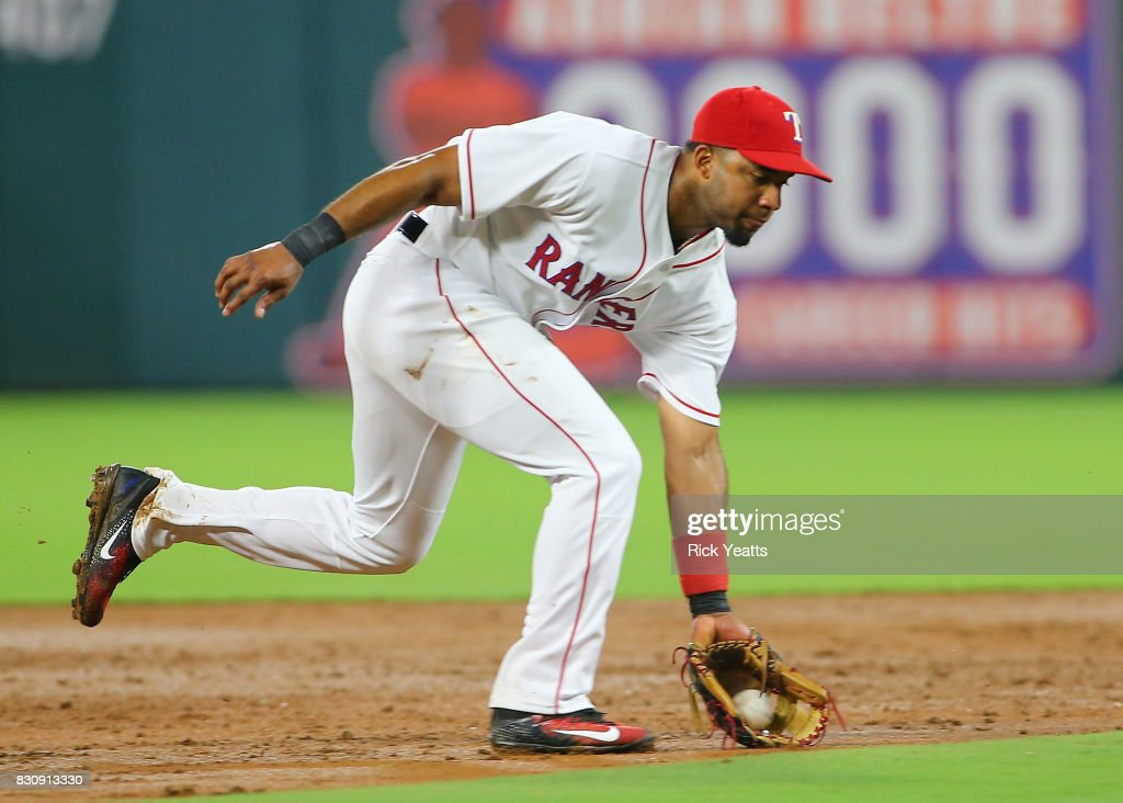 Elvis Andrus #1 of the Texas Rangers fields a ground ball in the fourth inning against the Houston Astros at Globe Life Park in Arlington on August 12, 2017 in Arlington, Texas.