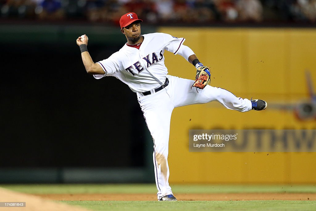 Elvis Andrus #1 of the Texas Rangers fields the ball against the New York Yankees on July 24, 2013 at the Rangers Ballpark in Arlington in Arlington, Texas.