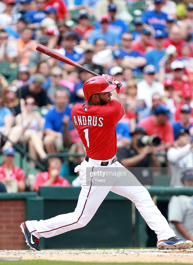 <a gi-track='captionPersonalityLinkClicked' href=/galleries/search?phrase=Elvis+Andrus&family=editorial&specificpeople=4845974 ng-click='$event.stopPropagation()'>Elvis Andrus</a> #1 of the Texas Rangers hits against the Kansas City Royals at Rangers Ballpark in Arlington on June 1, 2013 in Arlington, Texas.