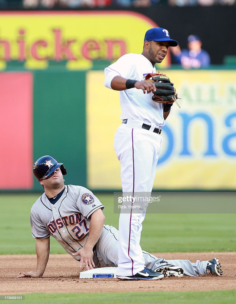 Elvis Andrus of the Texas Rangers looks on as Jose Altuve of the Houston Astros steals second base unchallenged in the first inning at Rangers...