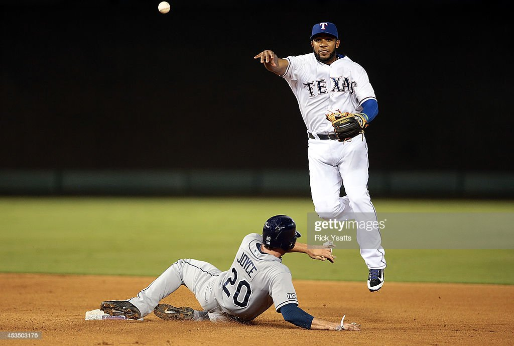 Elvis Andrus of the Texas Rangers makes the out on Matt Joyce of the Tampa Bay Rays throwing to first to make the double play at Globe Life Park in...