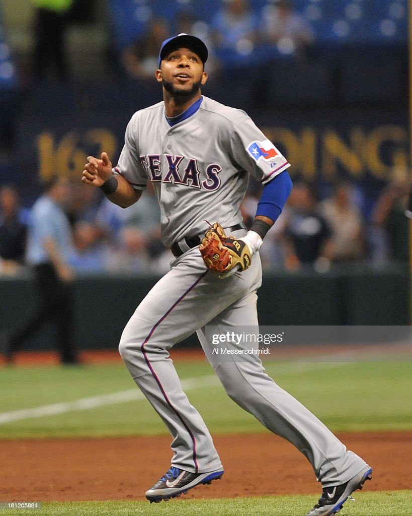 Elvis Andrus #1 of the Texas Rangers plays the field against the Tampa Bay Rays September 19, 2013 at Tropicana Field in St. Petersburg, Florida. Texas won 8 - 2.