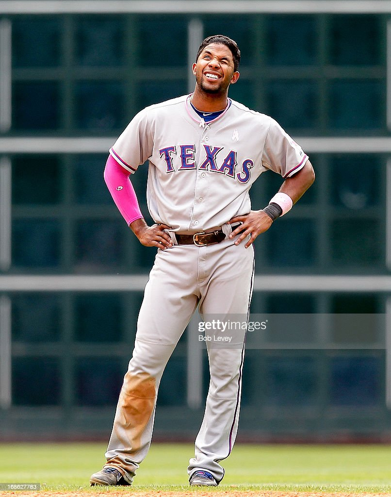 Elvis Andrus #1 of the Texas Rangers reacts after he was doubled off in the ninth inning against the Houston Astros at Minute Maid Park on May 12, 2013 in Houston, Texas.