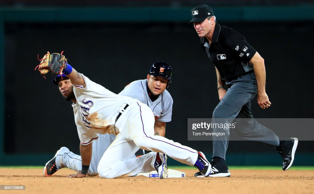 Elvis Andrus #1 of the Texas Rangers reacts after tagging out Miguel Cabrera #24 of the Detroit Tigers at second base in the top of the seventh inning at Globe Life Park in Arlington on August 16, 2017 in Arlington, Texas.