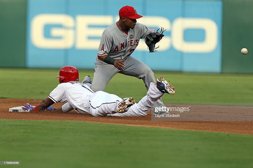 <a gi-track='captionPersonalityLinkClicked' href=/galleries/search?phrase=Elvis+Andrus&family=editorial&specificpeople=4845974 ng-click='$event.stopPropagation()'>Elvis Andrus</a> #1 of the Texas Rangers slides safely into 2nd covered by <a gi-track='captionPersonalityLinkClicked' href=/galleries/search?phrase=Erick+Aybar&family=editorial&specificpeople=551376 ng-click='$event.stopPropagation()'>Erick Aybar</a> #2 of the Los Angeles Angels of Anaheim on July 30, 2013 at the Rangers Ballpark in Arlington in Arlington, Texas.