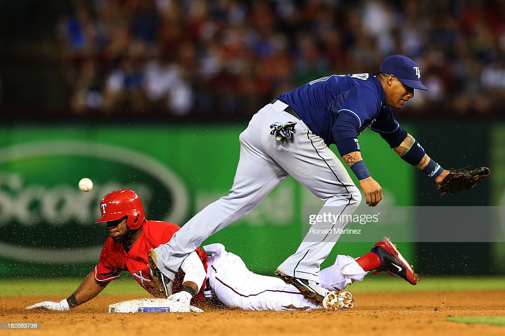 <a gi-track='captionPersonalityLinkClicked' href=/galleries/search?phrase=Elvis+Andrus&family=editorial&specificpeople=4845974 ng-click='$event.stopPropagation()'>Elvis Andrus</a> #1 of the Texas Rangers steals second base against <a gi-track='captionPersonalityLinkClicked' href=/galleries/search?phrase=Yunel+Escobar&family=editorial&specificpeople=757358 ng-click='$event.stopPropagation()'>Yunel Escobar</a> #11 of the Tampa Bay Rays in the sixth inning during the American League Wild Card tiebreaker game at Rangers Ballpark in Arlington on September 30, 2013 in Arlington, Texas.