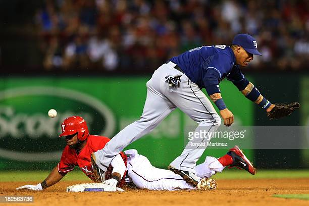 Elvis Andrus of the Texas Rangers steals second base against Yunel Escobar of the Tampa Bay Rays in the sixth inning during the American League Wild...