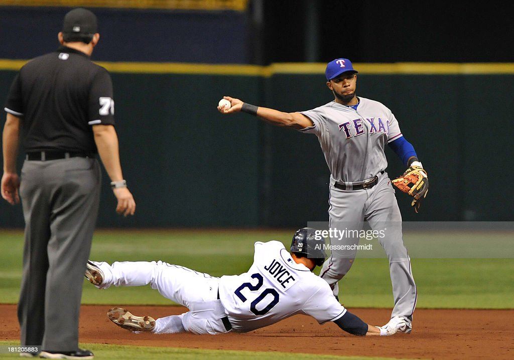 <a gi-track='captionPersonalityLinkClicked' href=/galleries/search?phrase=Elvis+Andrus&family=editorial&specificpeople=4845974 ng-click='$event.stopPropagation()'>Elvis Andrus</a> #1 of the Texas Rangers throws to first base over Matt Joyce of the Tampa Bay Rays September 19, 2013 at Tropicana Field in St. Petersburg, Florida. Texas won 8 - 2.