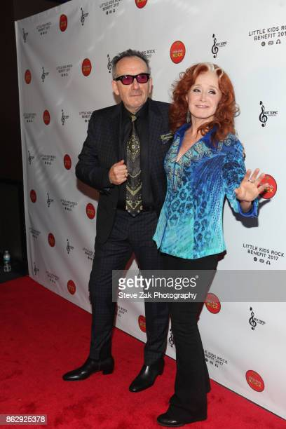Elvis Costello and Bonnie Raitt attend 2017 Little Kids Rock Benefit at PlayStation Theater on October 18 2017 in New York City