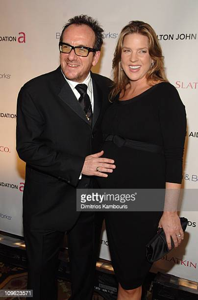 Elvis Costello and Diana Krall during The Elton John AIDS Foundation's Fifth Annual Benefit 'An Enduring Vision' Arrivals at The WaldorfAstoria Hotel...