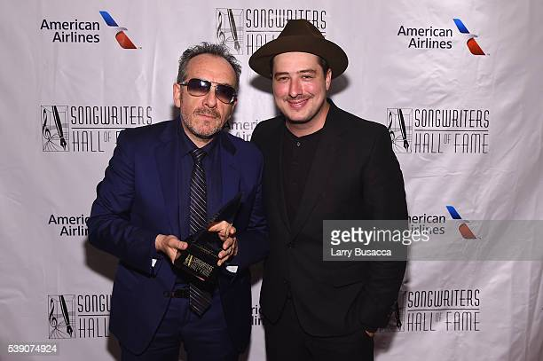 Elvis Costello and Marcus Mumford attend Songwriters Hall Of Fame 47th Annual Induction And Awards at Marriott Marquis Hotel on June 9 2016 in New...
