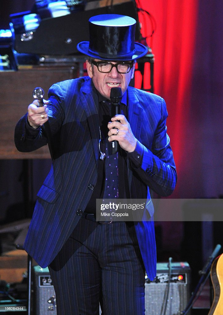 <a gi-track='captionPersonalityLinkClicked' href=/galleries/search?phrase=Elvis+Costello&family=editorial&specificpeople=206830 ng-click='$event.stopPropagation()'>Elvis Costello</a> and the Imposters perform onstage at the 2012 A Funny Thing Happened On The Way To Cure Parkinson's event at The Waldorf=Astoria on November 10, 2012 in New York City benefitting The Michael J. Fox Foundation for Parkinson's Research.