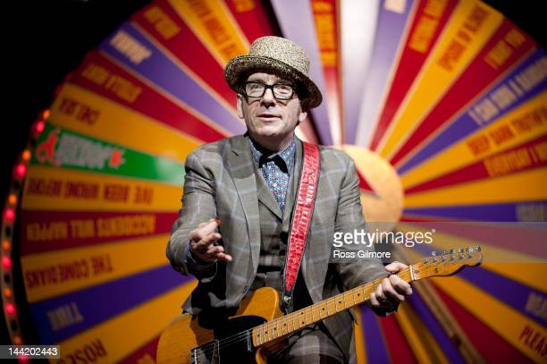 Elvis Costello of Elvis Costello The Imposters performs on stage on the first night of there UK Revolver Tour at Clyde Auditorium on May 11 2012 in...
