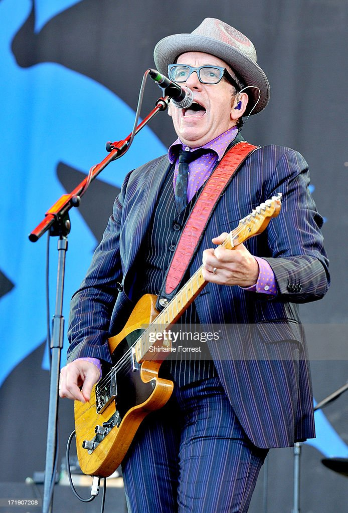 <a gi-track='captionPersonalityLinkClicked' href=/galleries/search?phrase=Elvis+Costello&family=editorial&specificpeople=206830 ng-click='$event.stopPropagation()'>Elvis Costello</a> performs at day 3 of the 2013 Glastonbury Festival at Worthy Farm on June 29, 2013 in Glastonbury, England.