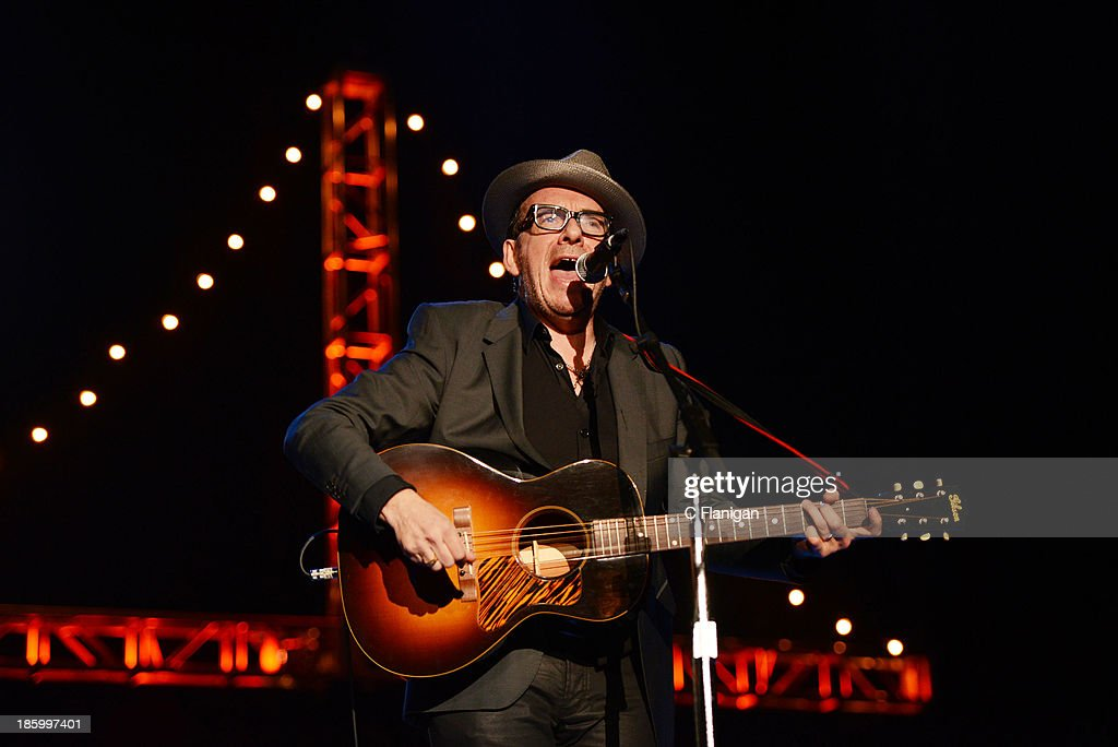 <a gi-track='captionPersonalityLinkClicked' href=/galleries/search?phrase=Elvis+Costello&family=editorial&specificpeople=206830 ng-click='$event.stopPropagation()'>Elvis Costello</a> performs during the 27th Annual Bridge School Benefit Concert at Shoreline Amphitheatre on October 26, 2013 in Mountain View, California.