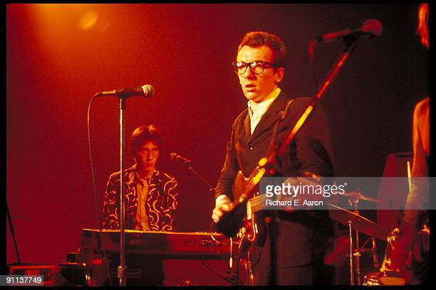 Elvis Costello performs live on stage with Steve Nieve from The Attractions at the Palladium in New York on May 06 1978