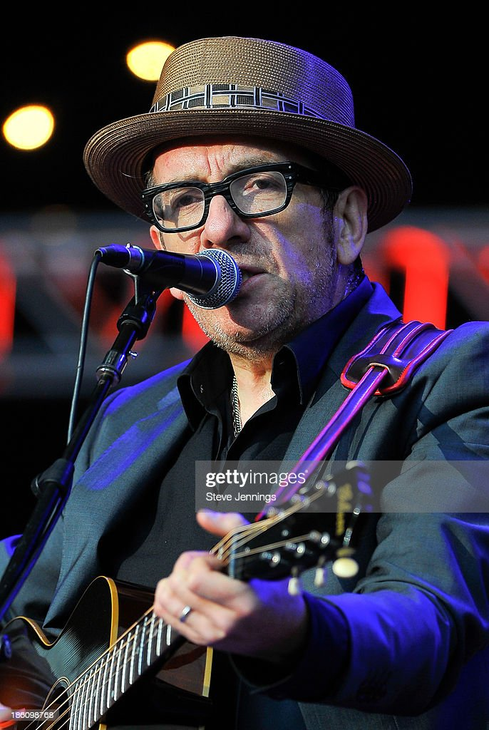 Elvis Costello performs on Day 2 of the 27th Annual Bridge School Benefit concert at Shoreline Amphitheatre on October 27, 2013 in Mountain View, California.