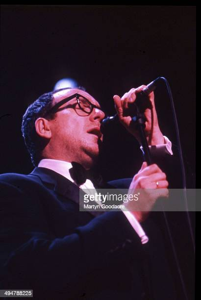 Elvis Costello performs on stage with Burt Bacharach at the Royal Festival Hall London United Kingdom October 1998