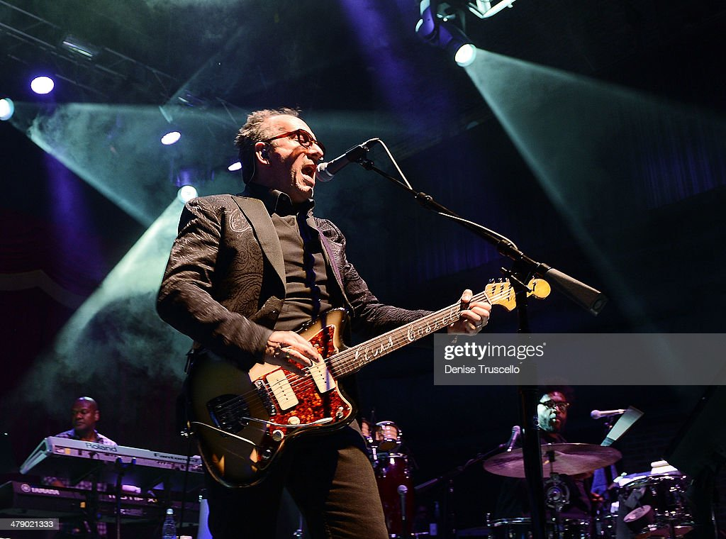 Elvis Costello performs with The Roots during the opening weekend kick off of the new Brooklyn Bowl on March 15, 2014 in Las Vegas, Nevada.