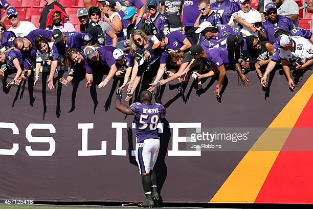 Elvis Dumervil of the Baltimore Ravens celebrates with fans after the game against the Tampa Bay Buccaneers at Raymond James Stadium on October 12...