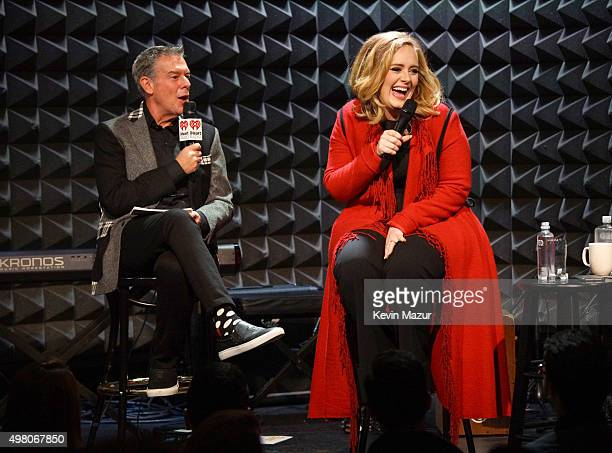 Elvis Duran and Adele speak onstage during iHeartRadio presents Adele's album premiere live at Joe's Pub on November 20 2015 in New York City
