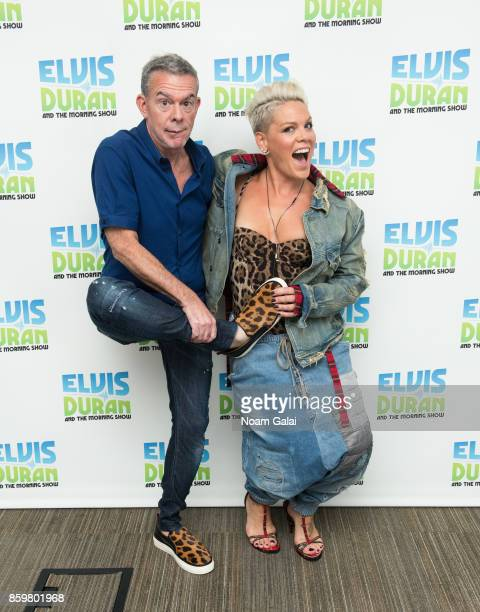 Elvis Duran and Pink attend 'The Elvis Duran Z100 Morning Show' at Z100 Studio on October 10 2017 in New York City