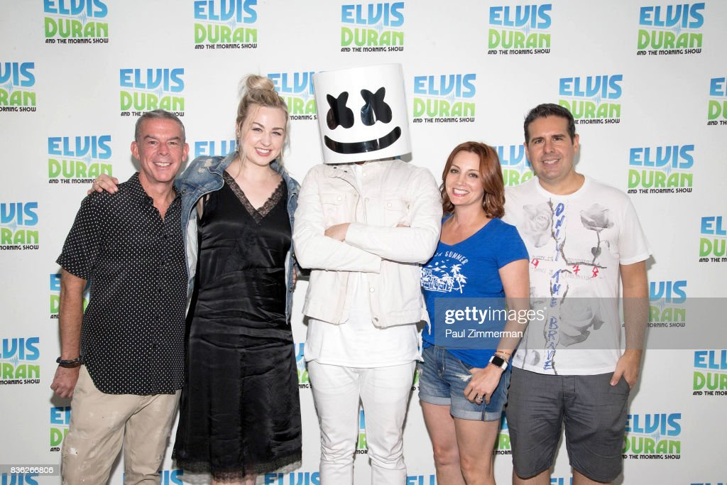 Elvis Duran, Bethany Watson, Marshmello,Danielle Monaro and Skeery Jones pose at 'The Elvis Duran Z100 Morning Show' at Z100 Studio on August 21, 2017 in New York City.