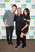 Elvis Duran poses with Shawn Mendes and Camila Cabello during their visit to 'The Elvis Duran Z100 Morning Show' at Z100 Studio on October 23 2015 in...