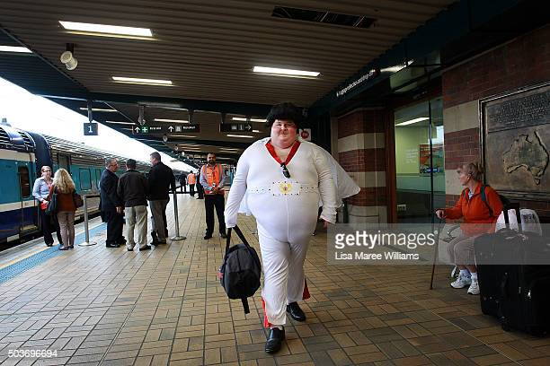 Elvis fans prepare to board the 'Elvis Express' at Central Station on January 7 2016 in Sydney Australia The Parkes Elvis Festival is held annually...