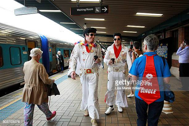 Elvis fans prepare to board the 'Elvis Express' on January 7 2016 in Sydney Australia The Parkes Elvis Festival is held annually over five days timed...
