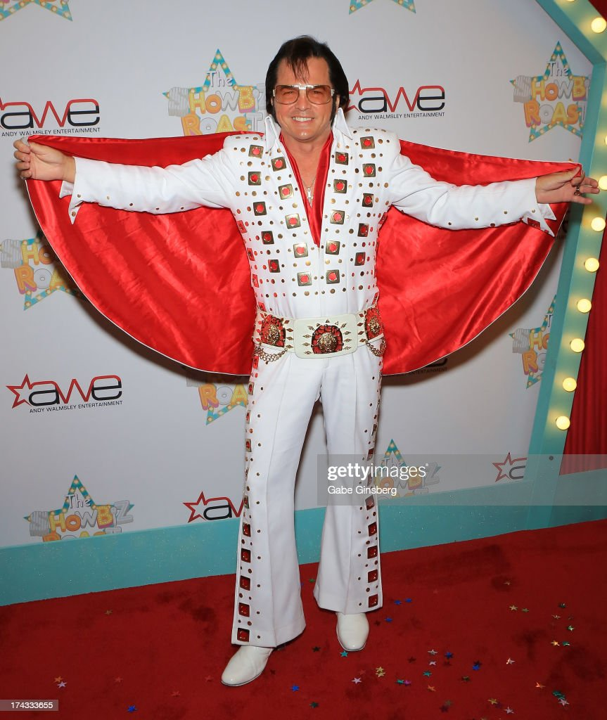 Elvis impersonator Eddie Powers arrives at the 'Showbiz Roast of Oscar Goodman' at the Stratosphere Casino Hotel on July 23, 2013 in Las Vegas, Nevada.