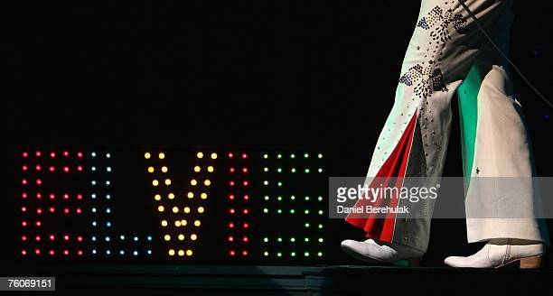 Elvis impersonator only known as Elvis performs on stage during the Return of the Kings Elvis tribute show at the Palladium on Agust 12 2007 in...