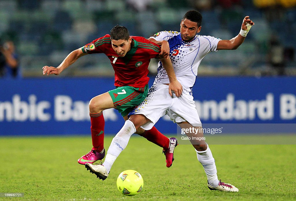 Elvis Macedo of Cape Verde and Abdelaziz Barrada of Morocco during the 2013 African Cup of Nations match between Morocco and Cape Verde Islands from Moses Mabhida Stadium on January 23, 2012 in Durban, South Africa.