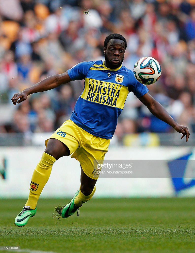 Elvis Manu of Cambuur in action during the Eredivisie match between Ajax Amsterdam and SC Cambuur Leeuwarden at Amsterdam Arena on March 9 2014 in...