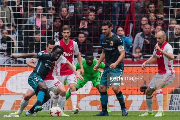 Elvis Manu of Go Ahead Eagles Nick Viergever of Ajax Joel Veltman of Ajax goalkeeper Andre Onana of Ajax Sander Fischer of Go Ahead Eagles Heiko...