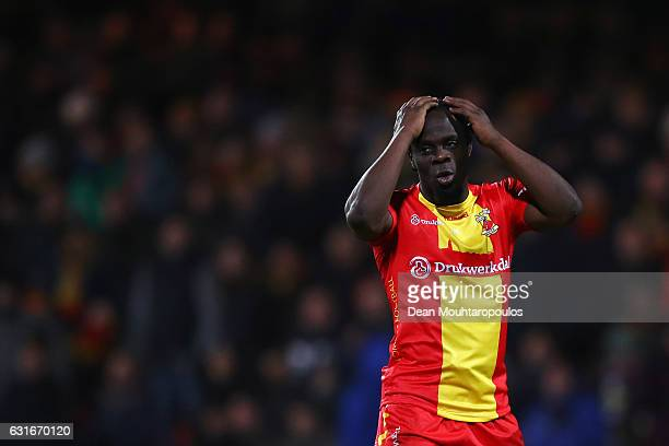 Elvis Manu of Go Ahead Eagles reacts to a missed chance on goal during the Dutch Eredivisie match between Go Ahead Eagles and AZ Alkmaar held at De...