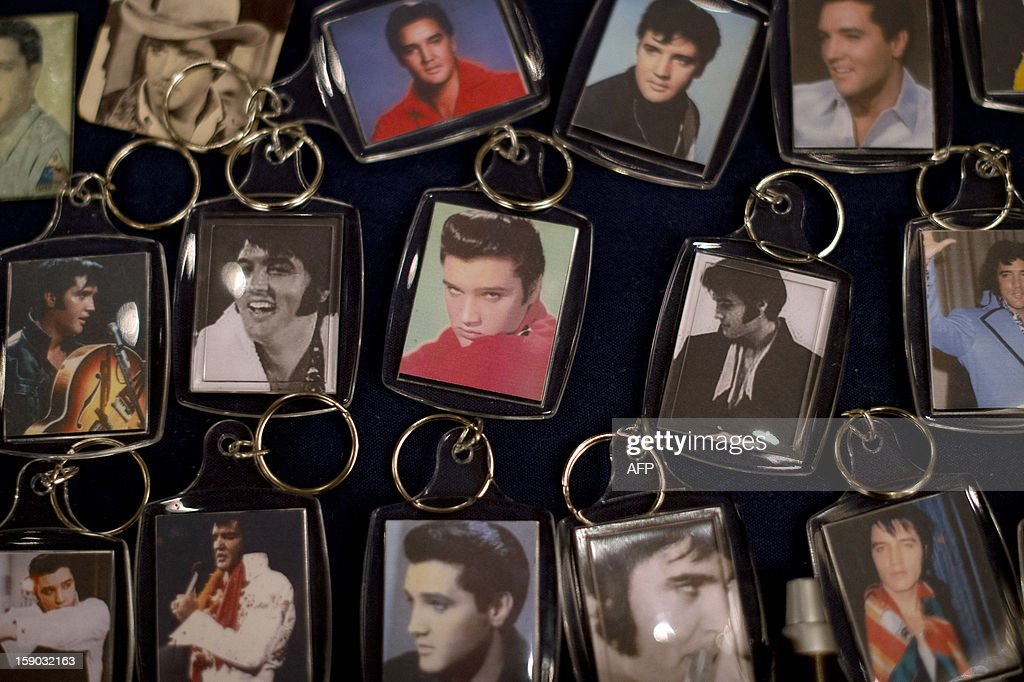 Elvis memorabilia is displayed during the European Elvis Championships in Birmingham, central England, on January 6, 2013. The championship brings Elvis fans and tribute artists from around the world to celebrate the King of Rock and Roll around his birthday on January 8. AFP PHOTO/BEN STANSALL