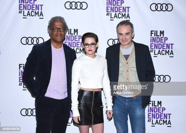 Elvis Mitchell Kristen Stewart and Olivier Assayas attend the Film Independent at LACMA screening and QA of 'Personal Shopper' at Bing Theatre at...