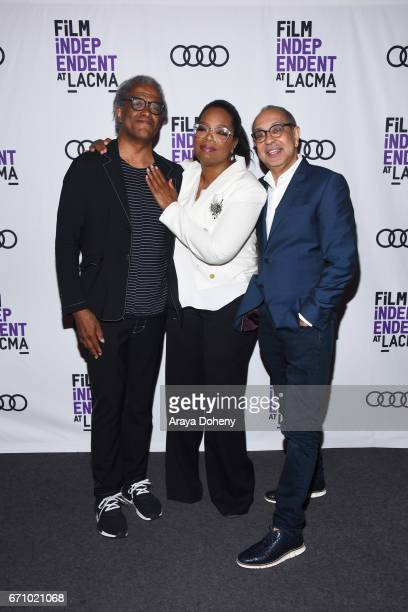 Elvis Mitchell Oprah Winfrey and George C Wolfe attend the Film Independent at LACMA Special Screening and QA of 'The Life Of Henrietta Lacks' at...