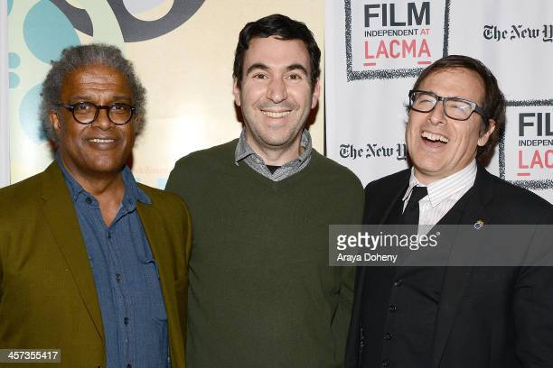 Elvis MitchellJonathan Gordon and David O Russell attend the Film Independent at LACMA screening QA of American Hustle at Bing Theatre At LACMA on...