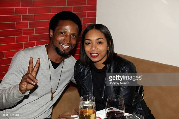 Elvis Nolasco and Zaraah Abrahams attend 'Da Sweet Blood Of Jesus' dinner reception at Red Stixs on February 9 in New York City