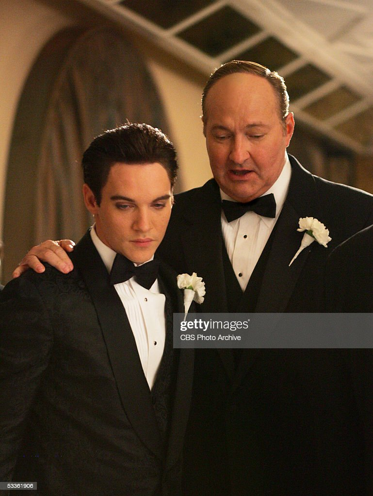 Elvis Presley (Jonathan Rhys Meyers) and 'Colonel' Tom Parker (Randy Quaid) on Presley's wedding day, in ELVIS, a four-hour mini-series which will be broadcast as the 'CBS Sunday Movie,' Sunday, May 8 (9:00-11:00 p.m. ET/PT) and Wednesday, May 11 (8:00-10:00 p.m. ET/PT) on the CBS Television Network.