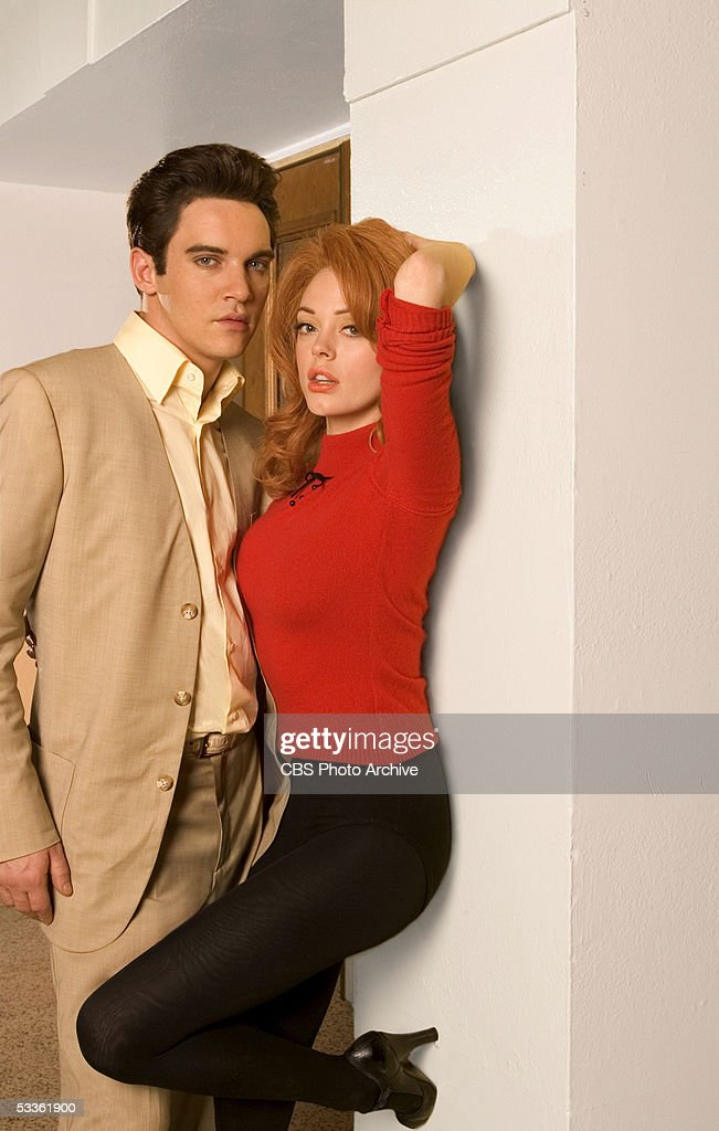 Elvis Presley (Jonathan Rhys Meyers) and his girlfriend Ann-Margret (Rose McGowan), in ELVIS, a four-hour mini-series which will be broadcast as the 'CBS Sunday Movie,' Sunday, May 8 (9:00-11:00 p.m. ET/PT) and Wednesday, May 11 (8:00-10:00 p.m. ET/PT) on the CBS Television Network.
