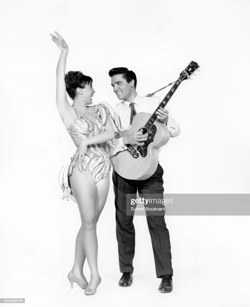 Elvis Presley and Liliane Montevecchi on the set of 'King Creole' directed by Michael Curtiz
