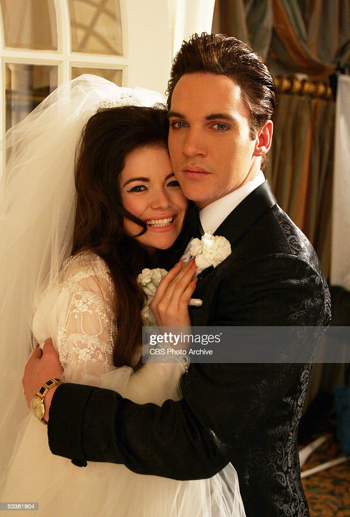 Elvis Presley (Jonathan Rhys Meyers) and Priscilla (Antonia Bernath) on their wedding day, in ELVIS, a four-hour mini-series which will be broadcast as the 'CBS Sunday Movie,' Sunday, May 8 (9:00-11:00 p.m. ET/PT) and Wednesday, May 11 (8:00-10:00 p.m. ET/PT) on the CBS Television Network.