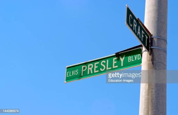 Elvis Presley Boulevard Street Sign At Graceland Memphis Tennessee