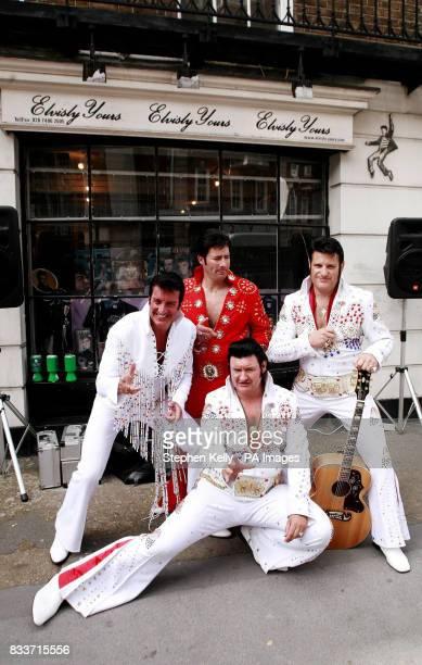 Elvis Presley impersonators Gary King Barry Tone Geordie Elvis and Elvis Shmelvis outside the Elvisly Yours memorabilia shop in Baker Street central...